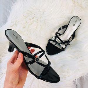 East 5th Black High Shine Strappy Sandal Heels 8.5